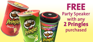FREE Party Speaker  with any  2 Pringles purchased (While stocks last)