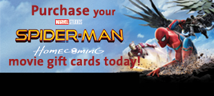 Purchase your Movie Gift Cards today from Spider-Man Homecoming